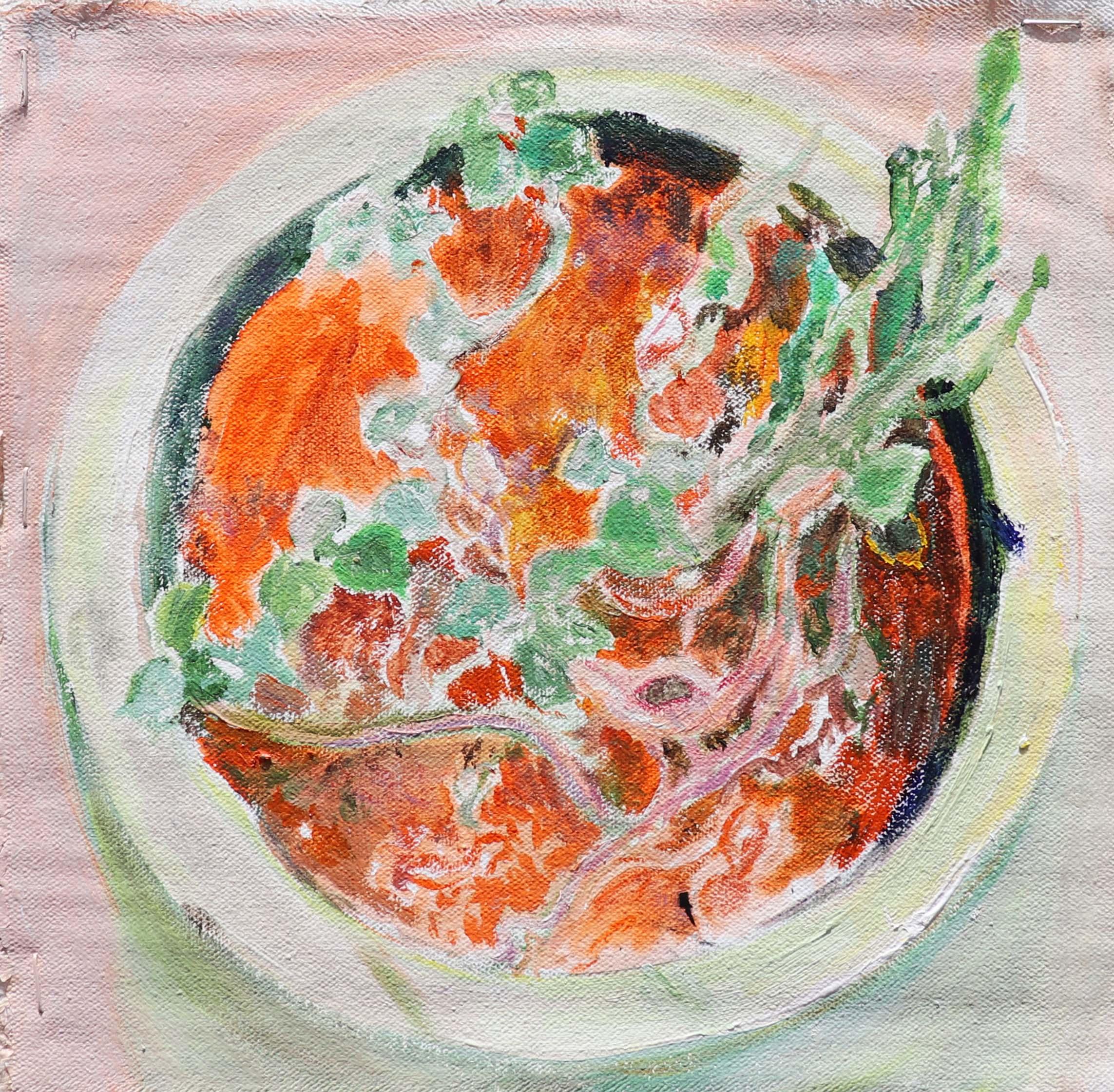 Eliska Fialova, Flowerpot 1, Acrylic on canvas, 30 x 30 cm, 2016