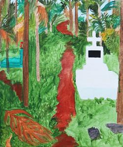 Zsofia Hajdu, Graveyard in Mawlinnong 2, Acrylic on canvas, 30 x 25 cm, 2017