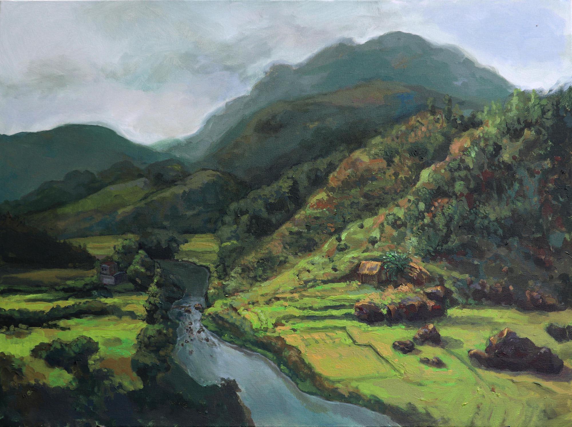 Md Imtiaj Islam, Landscape of Mawkyrwat, Acrylic on cavas, 75 x 100 cm, 2019