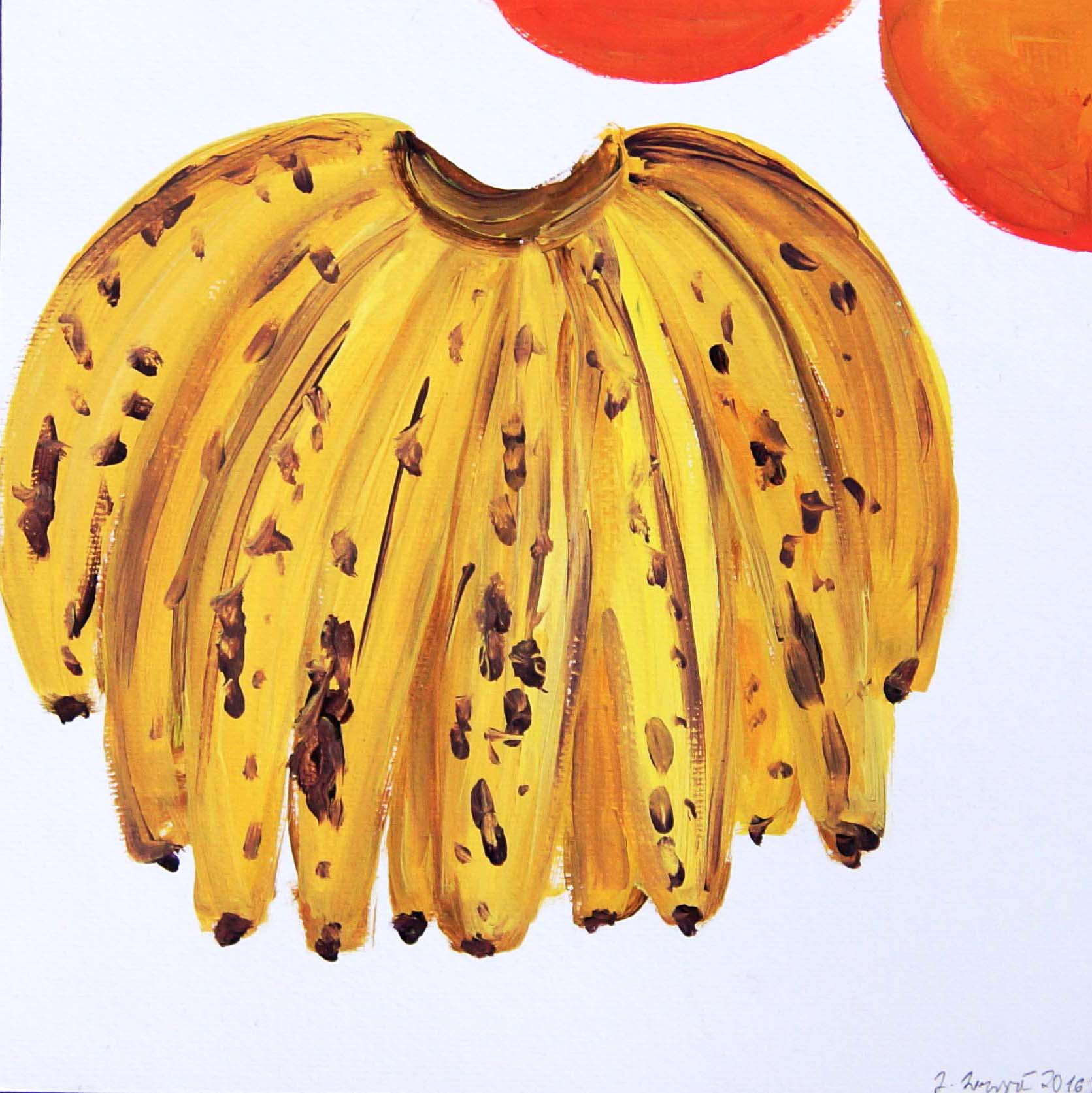 Juliana Mrvova, Bananas, Acrylic on paper, 30 x 30 cm, 2016