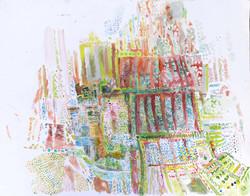 Eliska Fialova, Fields, Water Colour on paper, 80 x 50 cm, 2016