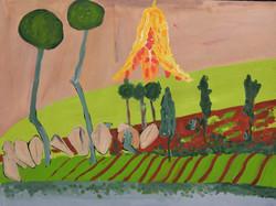 Juliana Mrvova, Sohra Fields, Acrylic on paper, 75 x 100 cm, 2016