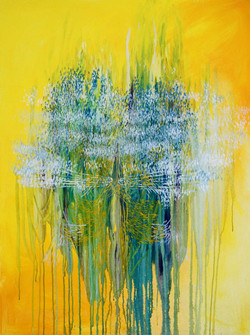 Katerina Pekna, Yellow Rain, , Acrylic on canvas, 100 x 75 cm, 2016