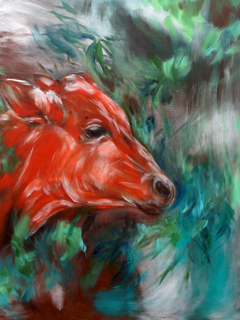 Barbora Chlastakova, Red  cow, Acrylic on canvas, 100 x 80 cm, 2016