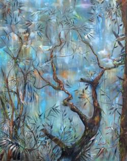 Jan Prazan, Tree in the mist, Oil on Canvas, 100 x 80, 2016