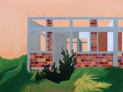 Zsofia Hajdu, House, Acryl on canvas, 75 x 100 cm, 2017