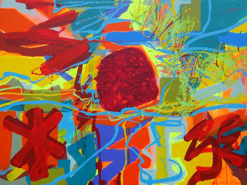 Andrew Smith, Lum Symper, Acrylic on canvas, 75 x 100 cm, 2019