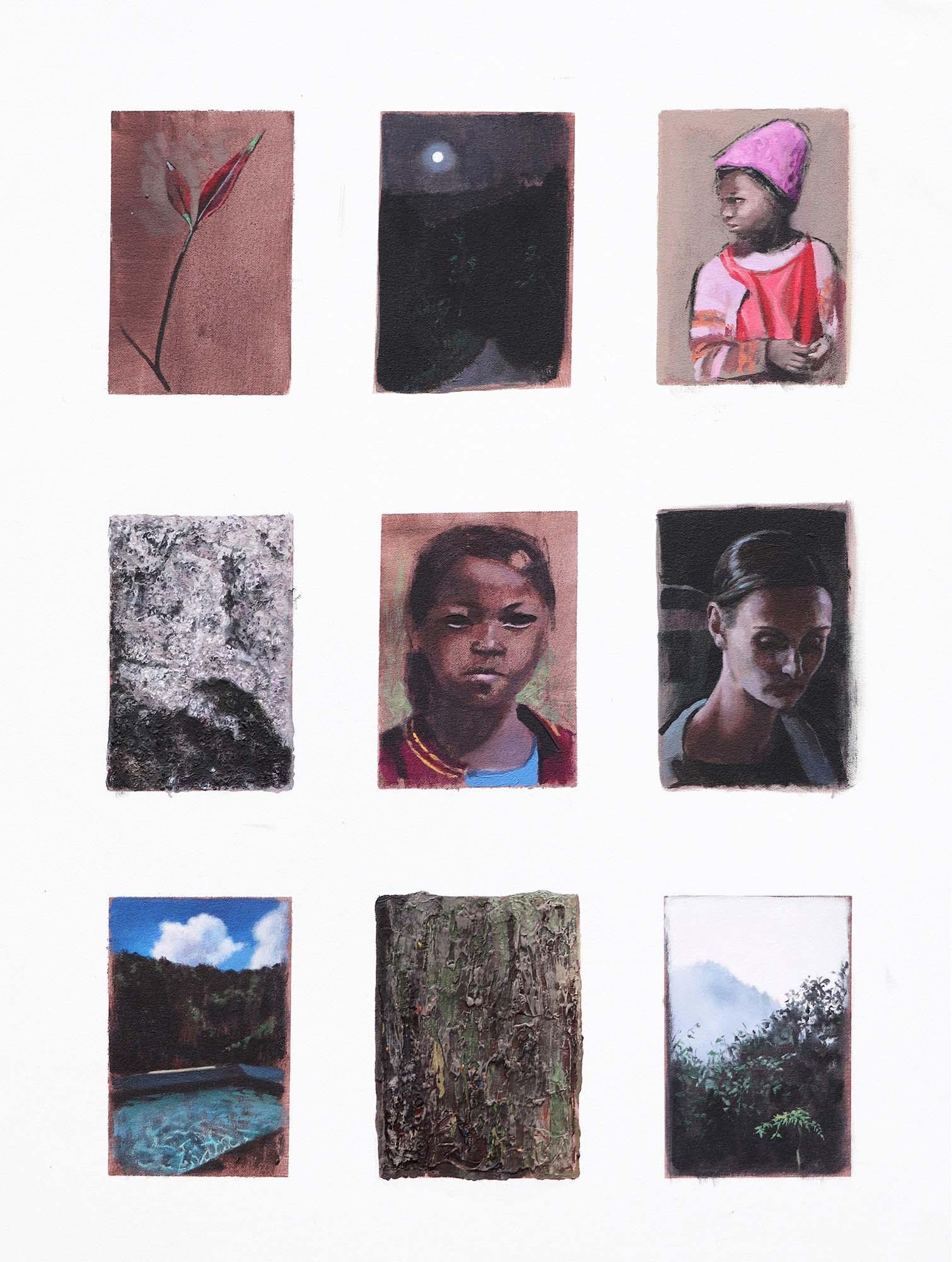 Cristina Megía, Bocetos de Mawkyrwat (Parte II), Acrylic on canvas, 75 x 100 cm, 2019