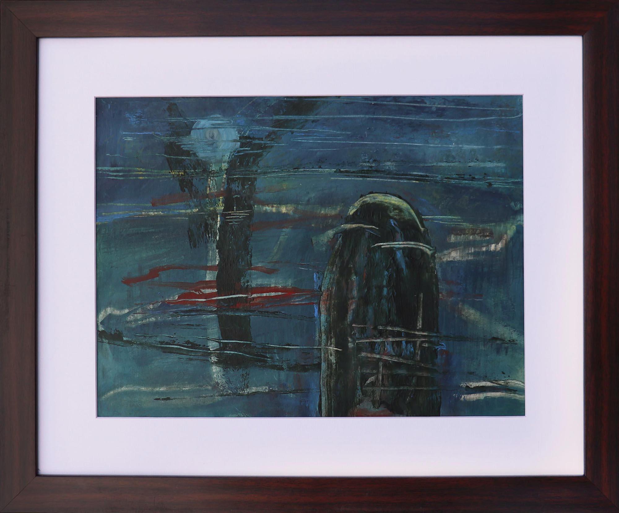 Moinuddin Moni, Blue monolith, Acrylic on paper, 42 x 50 cm with frame, 2017
