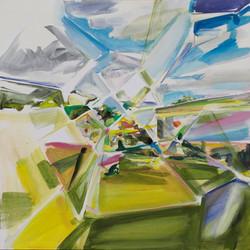 Anna Sypenova, Krajina 1, Acrylic on Canvas, 45 x 45 cm, 2018