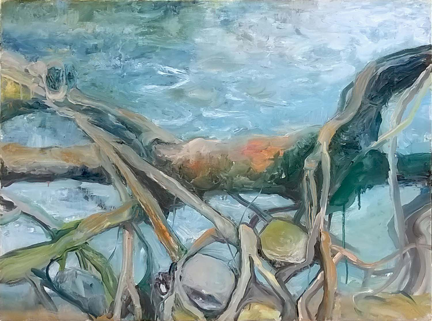 Jana Bednarova, Mawlynnong Rootbridge, Oil on canvas, 75 x 100 cm, 2016
