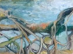 Jana Bednarova, Mawlynnong Rootbridge, Oil on canvas, 75 x 100 cm, 2016