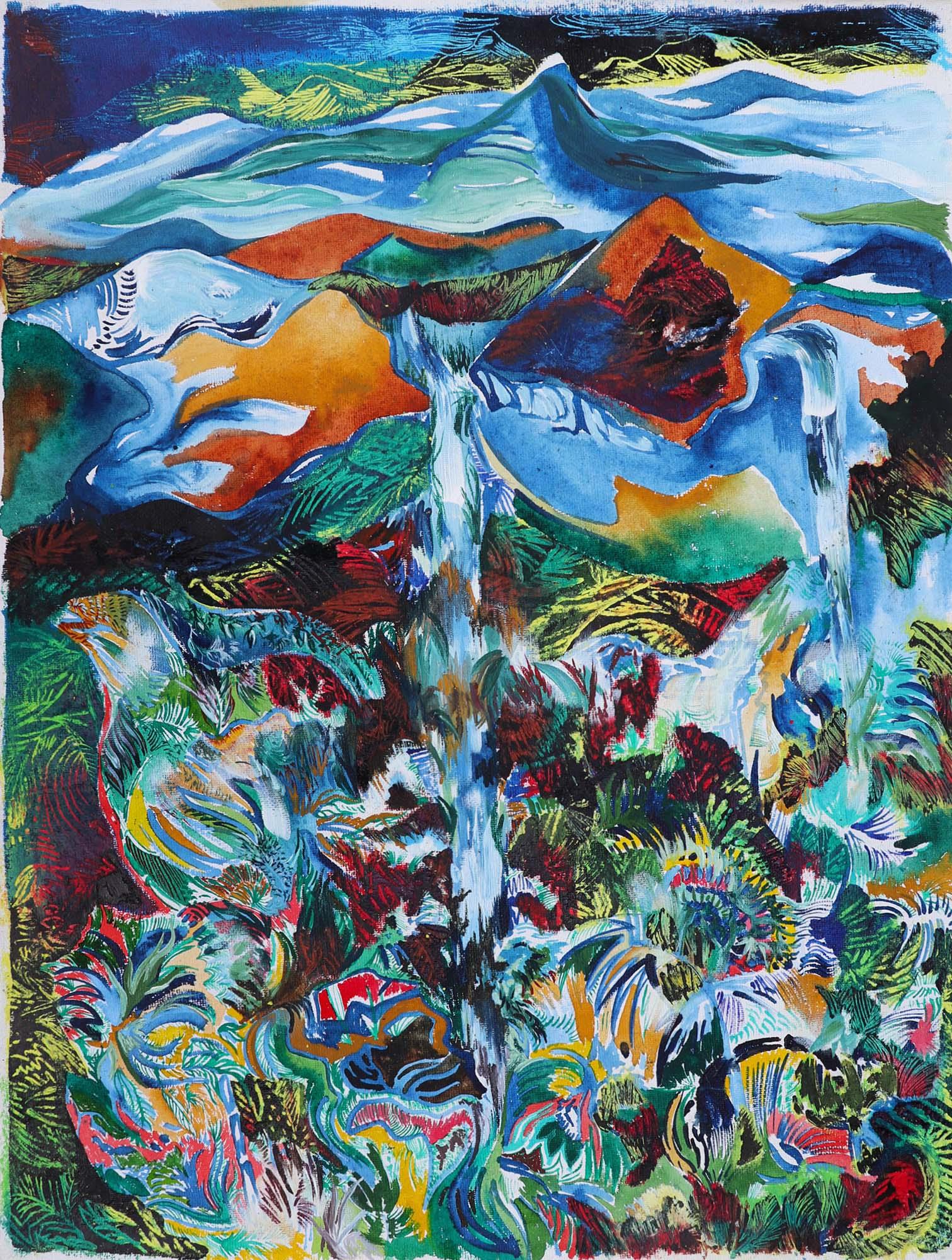 Barbora Chlastakova, Nokhalikai Falls, Mix media on handmade paper, 80 x 60 cm, 2016