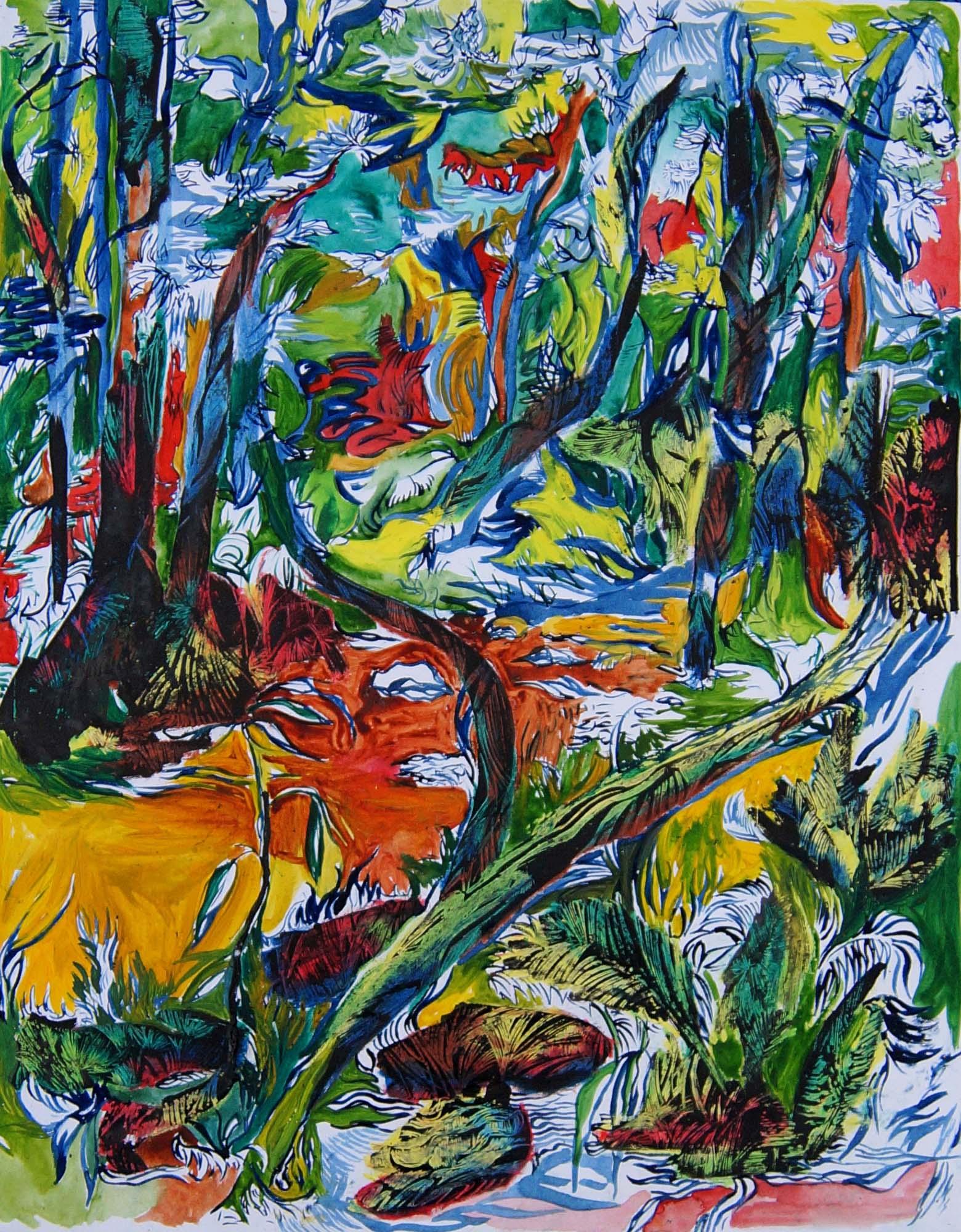 Barbora ChIastakova, Sacret forest 2, Mix media on handmade paper, 80 x 60 cm, 2016