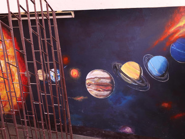 Solar system at the wall of staircase of the school