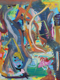 Lasse Mouritzen, Plastic Fire, Acrylic on canvas, 100 x 75 cm, 2018