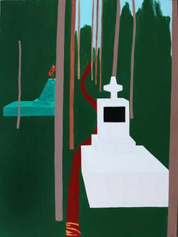 Zsofia Hajdu, Graveyard in Mawlinnong 1, Acrylic on canvas, 100 x 75 cm, 2017