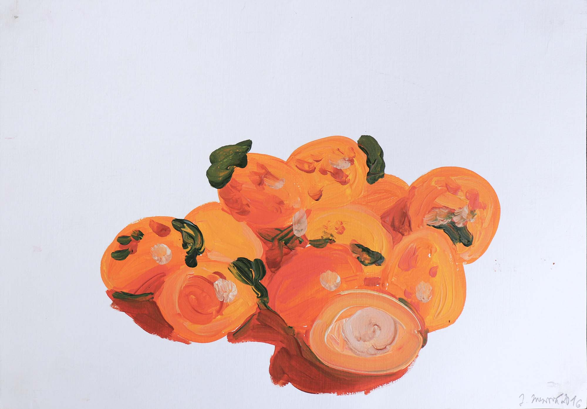 Juliana Mrvova, Oranges, Acrylic on paper, 30 x 40 cm, 2016