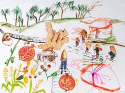 Juliana Mrvova, Sohra Landscape, Acrylic and watercolour on canvas, 75 x 100 cm, 2016