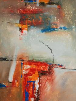 Moinuddin Moni, Monolith 4, Acrylic on canvas, 100 x 75 cm, 2017
