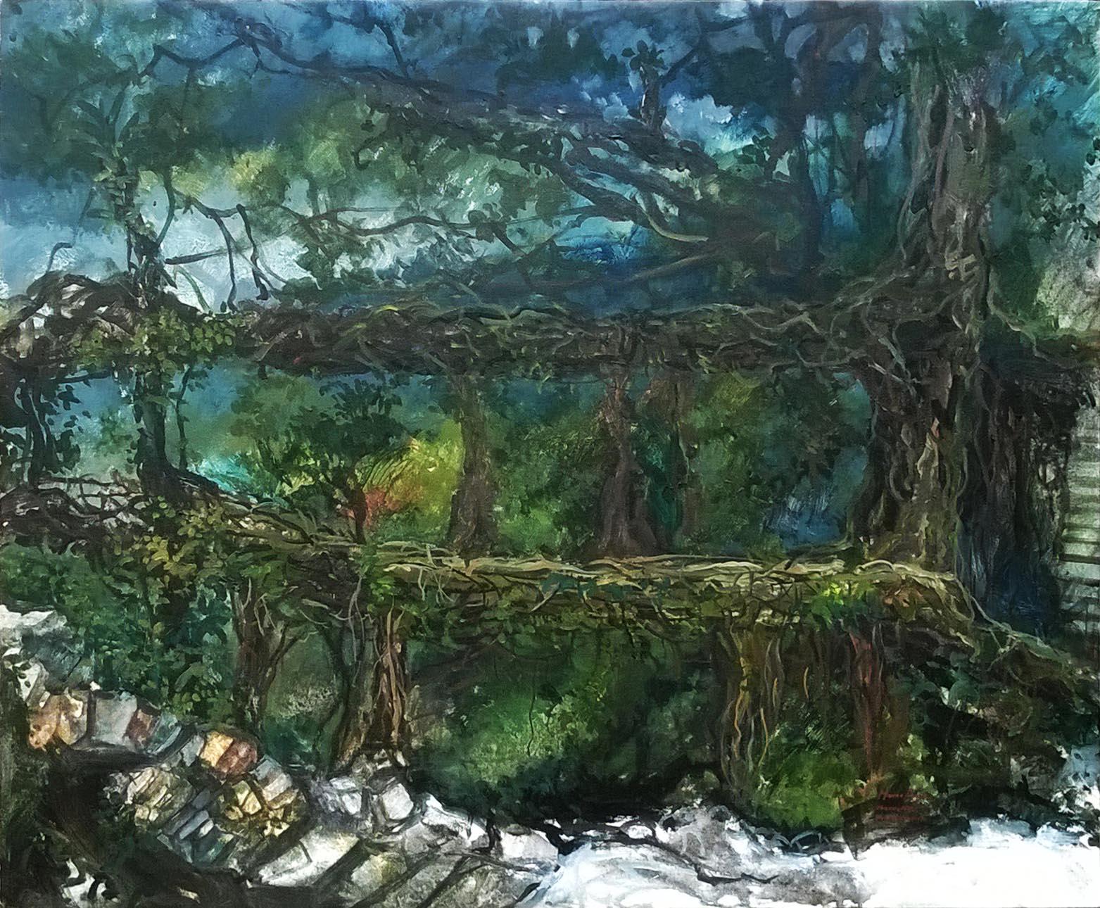 Moinuddin Moni, Root Bridge, Acrylic on canvas,100 x 75 cm, 2017
