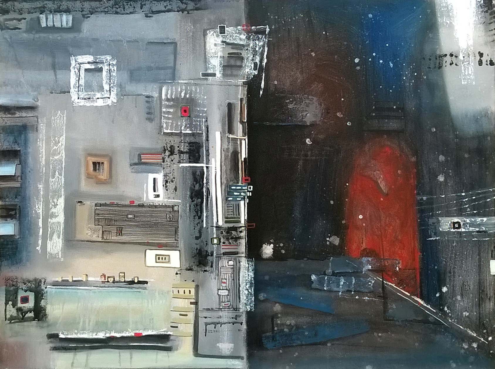 Moinuddin  Moni, Memory Monolith, Acrylic on canvas,100 x 75 cm, 2017
