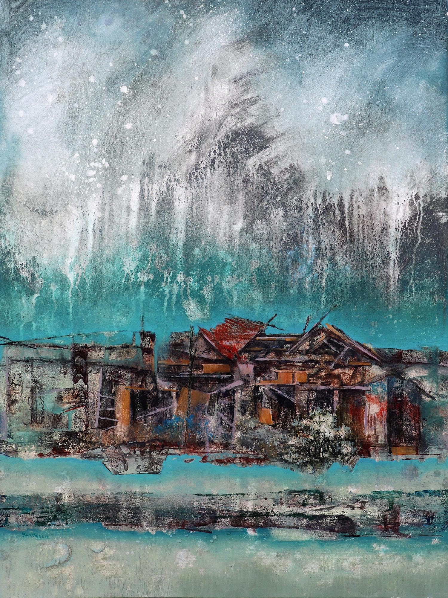 Moinuddin Moni, Broken House , Acrylic on canvas,100 x 75 cm, 2017