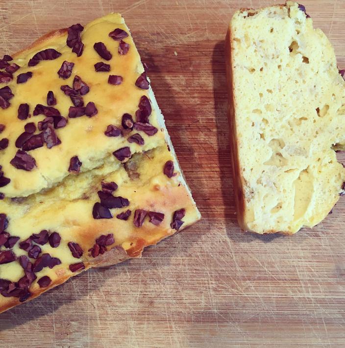 Breakfast on the go.. Vanilla and Cacao Nib Banana Bread