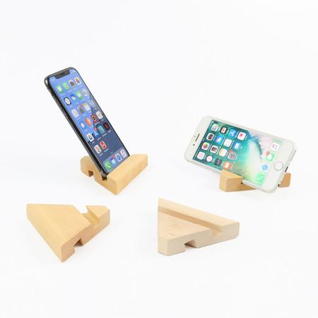 Ahşap Çift Taraflı Piramit Telefon Tutucu