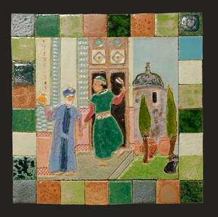 "16"" x 16"" Large ceramic square with border tiles.  2008"