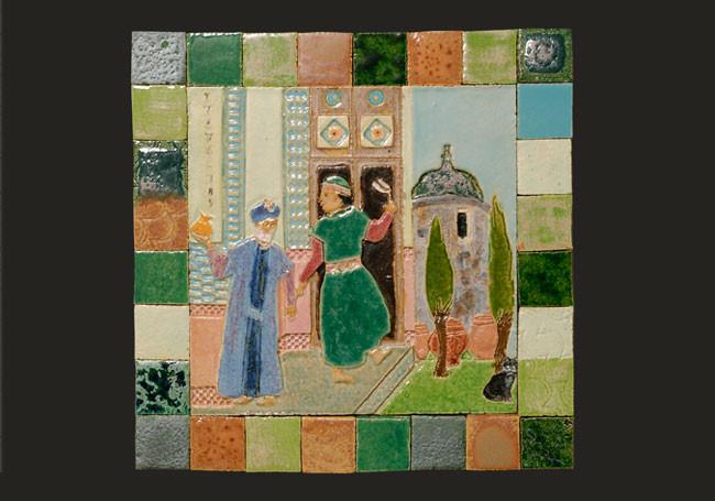 "Square ceramic mural with border tiles  (16"" x 16"") 2008"