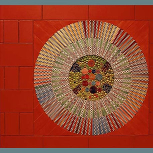 (Detail) THREE times THREE (from the middle, orange wall)