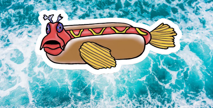Hotdog Fish Sticker- Small and Large Available