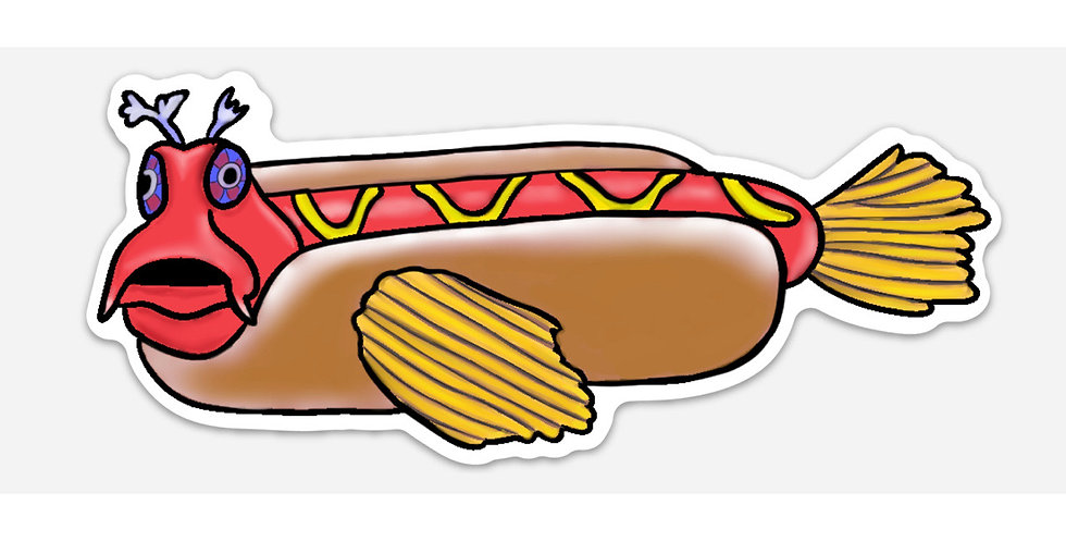 Hotdog Fish Bumper Sticker