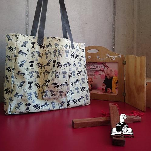Bolso Kamishibai Gatos juguetones beige