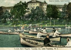 Vintage Toxaway Inn postcard boating
