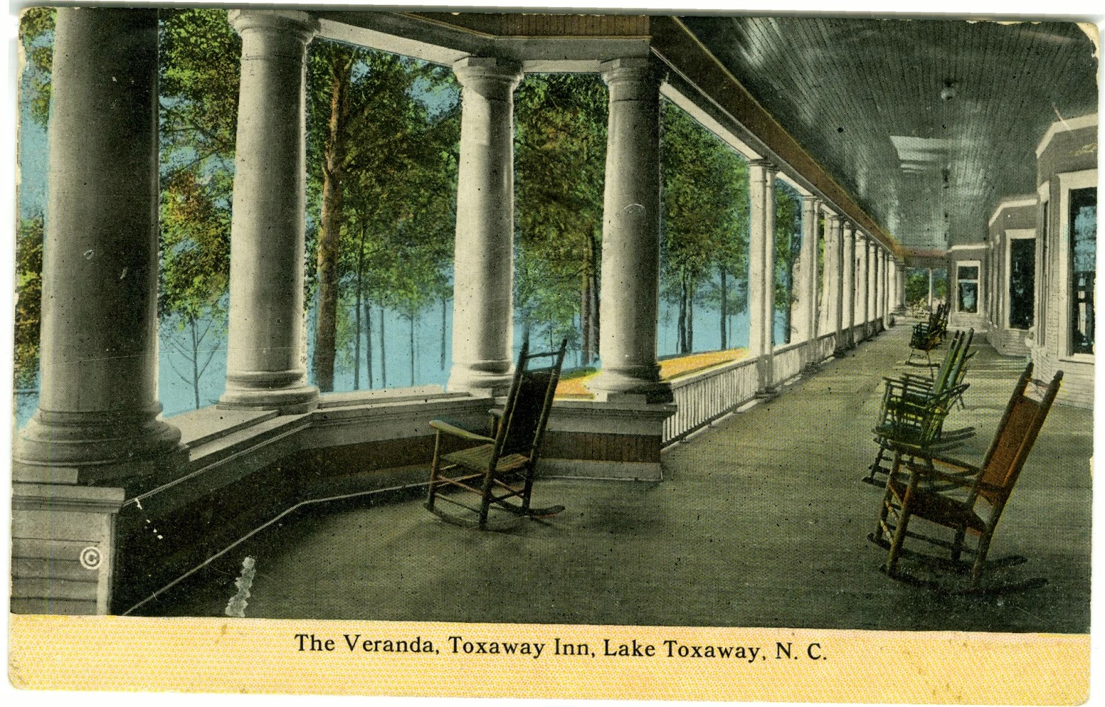 Vintage Toxaway Inn postcard porch
