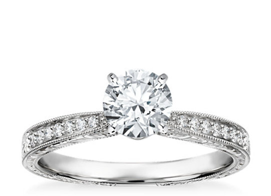 Hand-Engraved Micropaved Diamond Engagement Ring