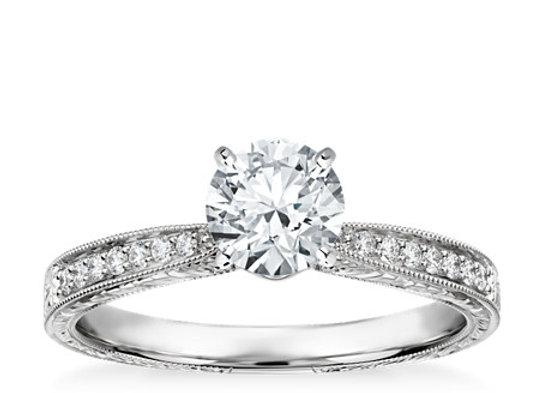Hand-Engraved Micropav?? Diamond Engagement Ring