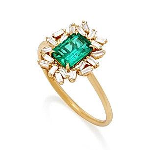18k-Yellow-Gold-Emerald-And-Diamond-Ring