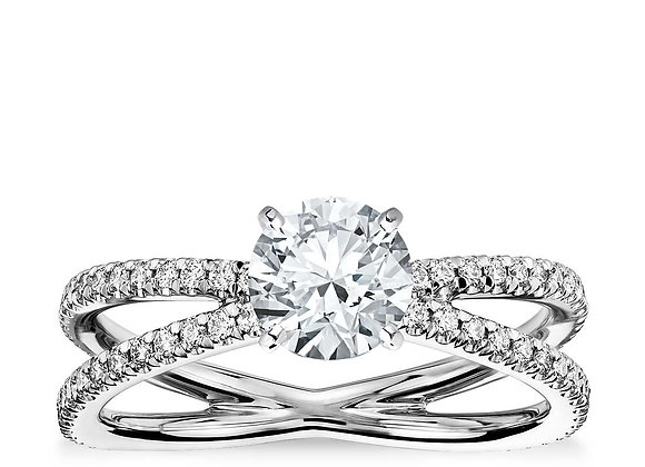 French Paved Engagement Ring