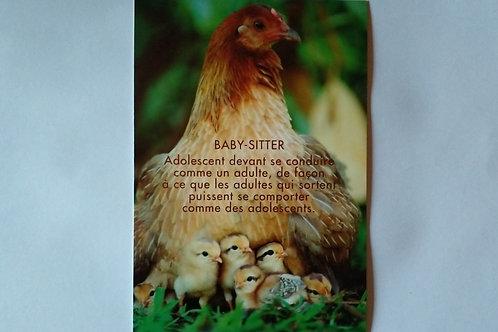 Carte poule baby sitter