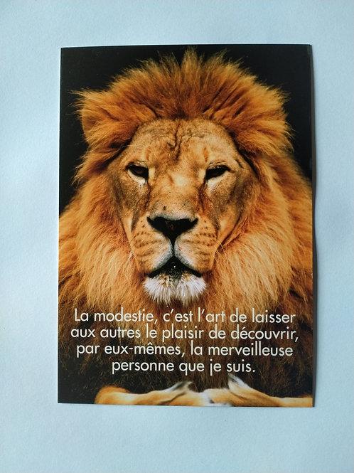 Carte lion modestie