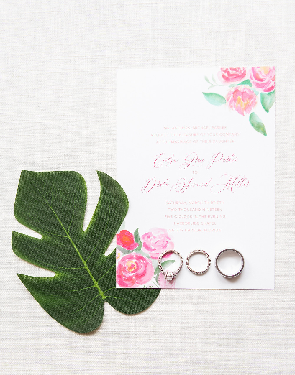 pink watercolor wedding invitation with rsvp card and envelope liner