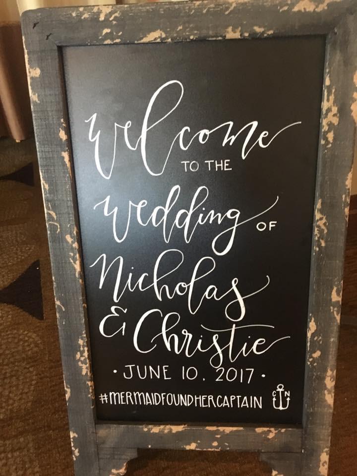 Welcome sign, wedding board, hand letter, hand lettering, calligraphy, custom, Naples, wedding, bride, groom