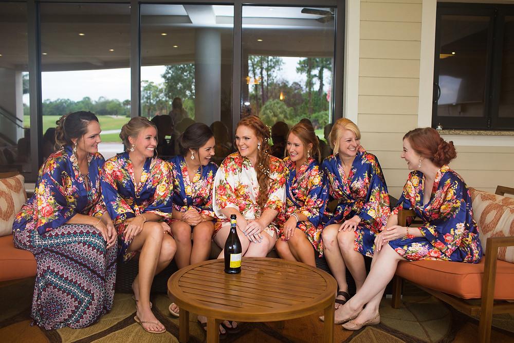 bridal party, bridesmaids, best gals, best friends, floral, champagne, marriage, bride