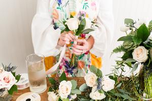floral arrangements, wedding florals, flowers, Cotton & Magnolia, St. Pete Florist, roses, peonies, ribbon