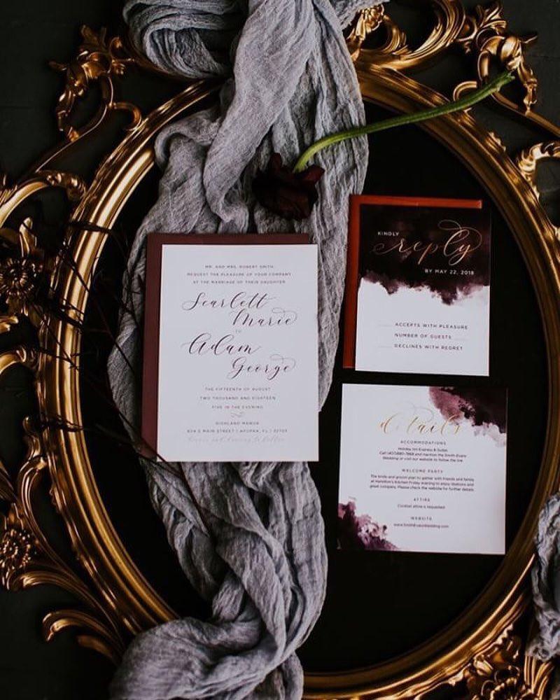 wedding invitation, fall wedding, custom invitation suite, fall wedding inspiration, moody wedding, sultry, autumn