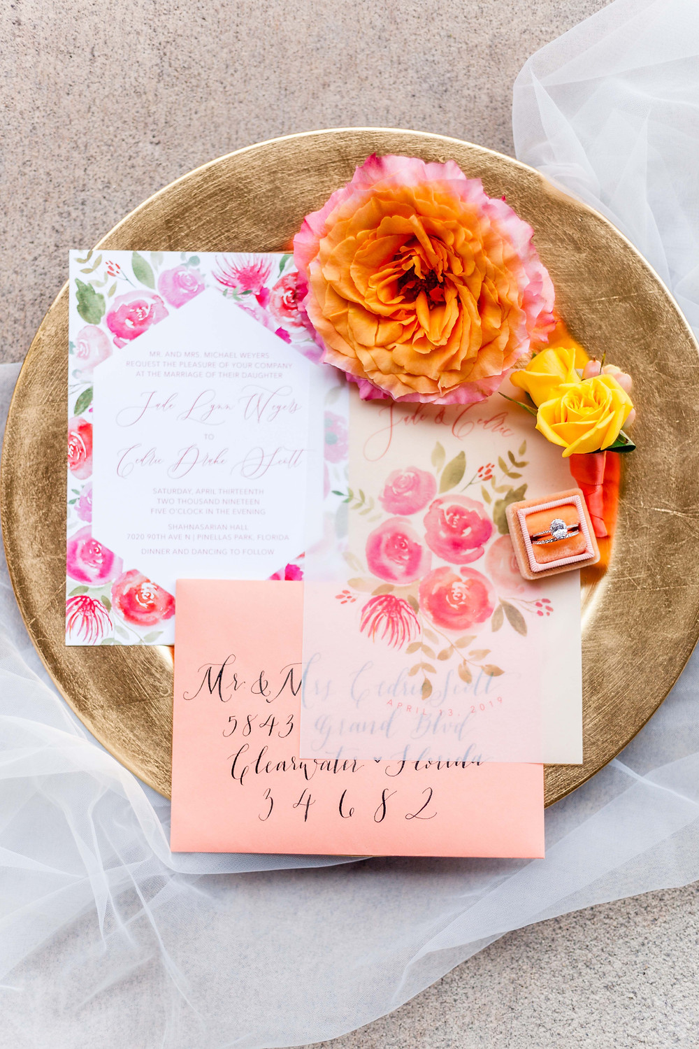 Custom pink, coral and orange floral watercolor wedding invitation suite.