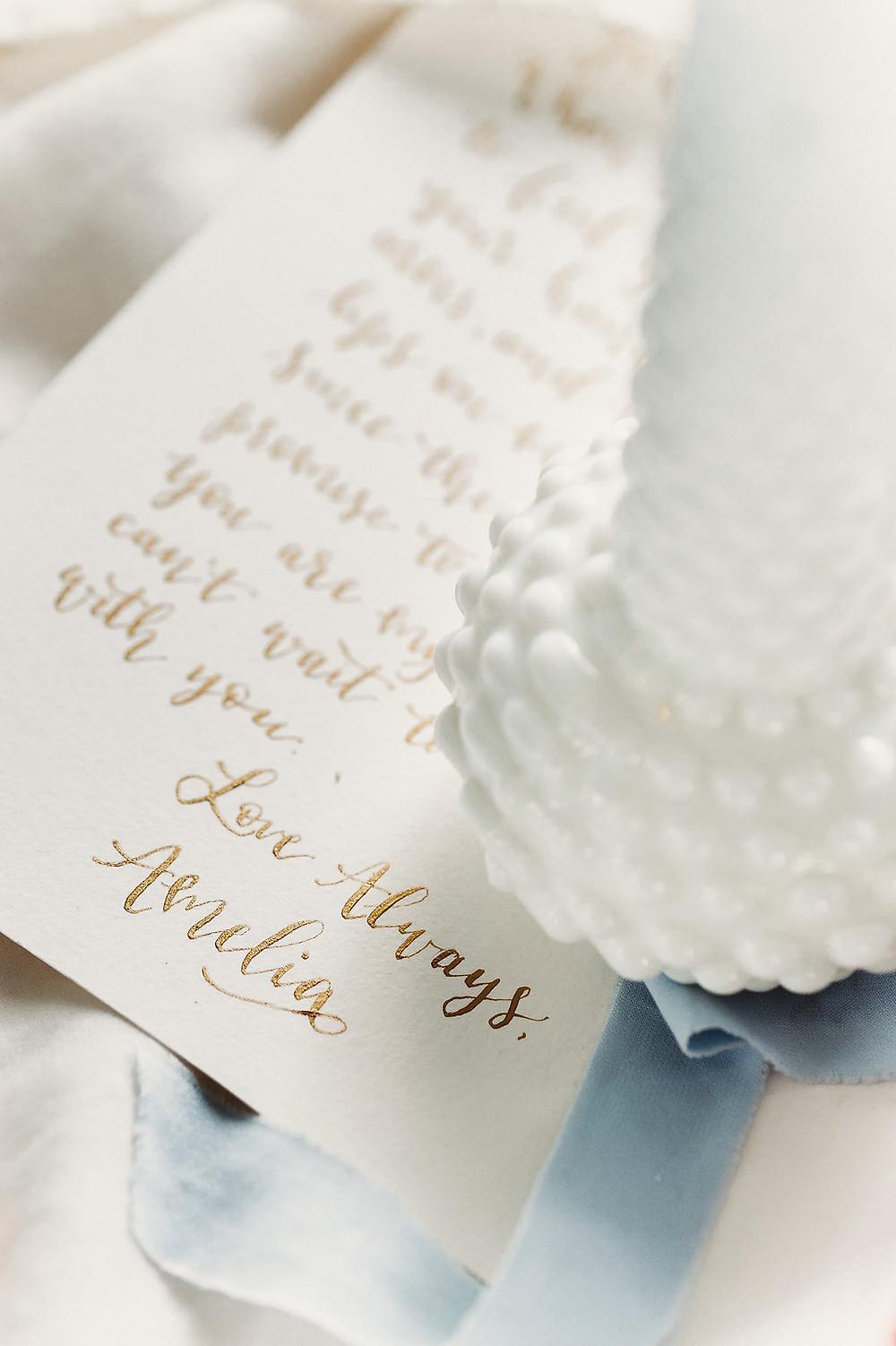 Custom gold dip pen calligraphy love letter